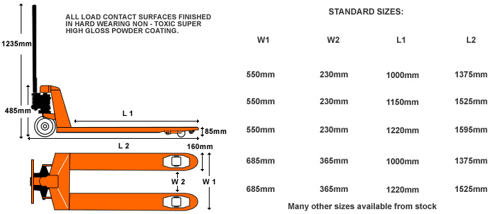 Optional frame dimensions of our most popular hand pallet trucks