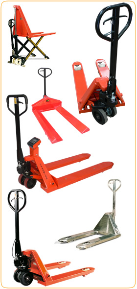 Scissors lift pallet truck, extra wide pallet truck, stainless steel pallet truck, weight scale pallet truck, paper roll pallet truck and brake pallet truck, just a few of our special purpose pump trucks.